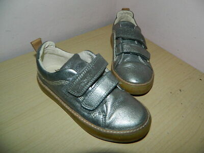 girls Clarks greyish silver leather shoes with fasteners uk 10.5 F eur 28.5