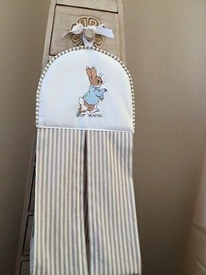 Peter Rabbit Nappy Stacker In grey star fabric