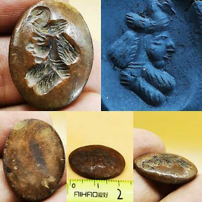 Old Sassanian King With bird intaglio stone Wonderful Seal stamp  # 106