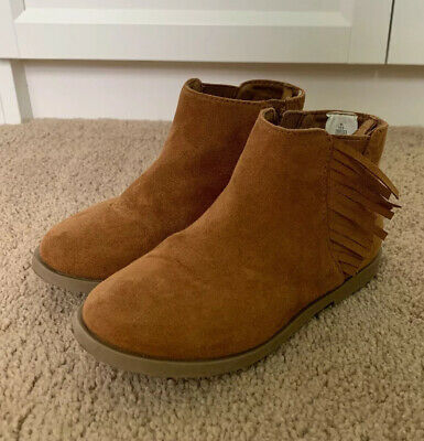 Toddler Girls Size 10 Brown Suede Fringe Ankle Booties Old Navy
