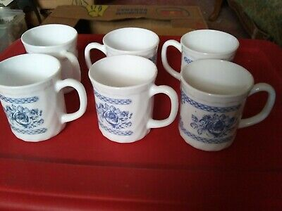 Set of 6 ARCOPAL FRANCE HONORINE Blue and White Floral Roses Coffee Cup Mugs