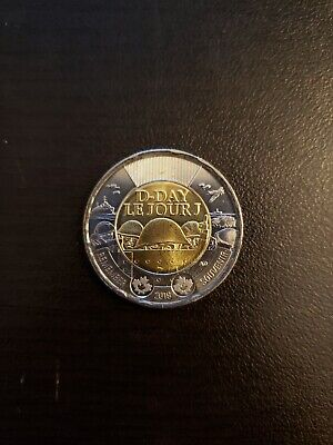 Canada 2019 D-Day Plain Toonie From Mint Roll!!