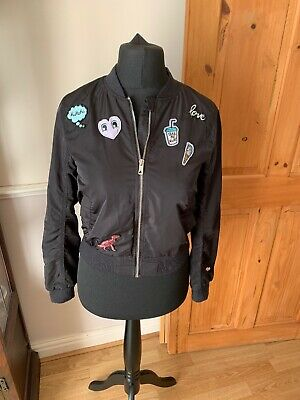 Girls Black Bomber Jacket From H&M Size 10-11 Years 146 Cm