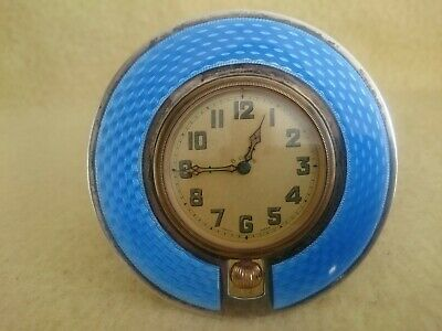Antique Circular Blue Enamel And Silver Travel Strut Easel Clock Vertex 8 Days