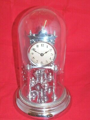 Rare Vintage Chrome 400 Day Anniversary Clock By Philip Haas Under Glass Dome.