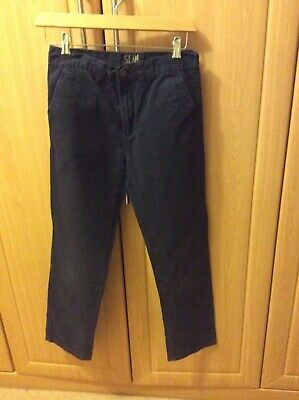 Navy Blue slim fit  Chino trousers age 11-12 years vgc