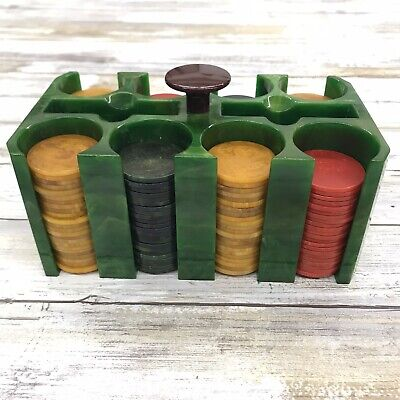 Bakelite Catalin Poker Caddy Vintage W/ Yellow Red Green Marbled Chips