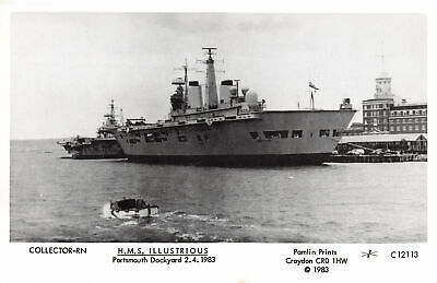 R231734 Collector Rn. H. M. S. Illustrious. Portsmouth Dockyard. Pamlin Prints.