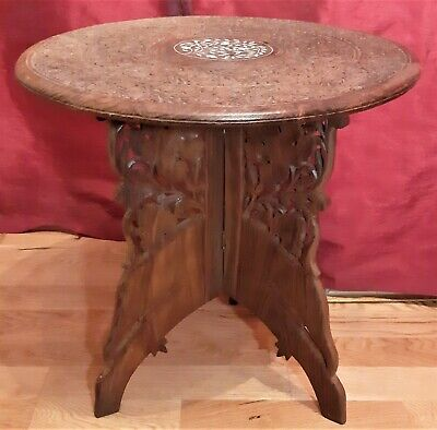 Vintage Eastern Oval Inlaid Wooden Carved Table, with foldable legs