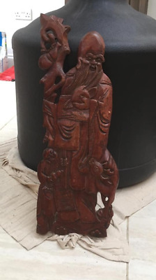 Large Antique Chinese carved wooden figure of shoulao ,god of longevity