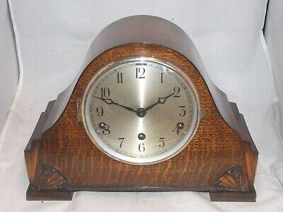 8-Day Art Deco Westminster Chime Mantel Clock In Oak Wooden Case, Working Order.