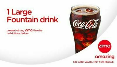 AMC Movie Theaters 1 Large Free Drink ***$2*** ***Fast E-delivery***