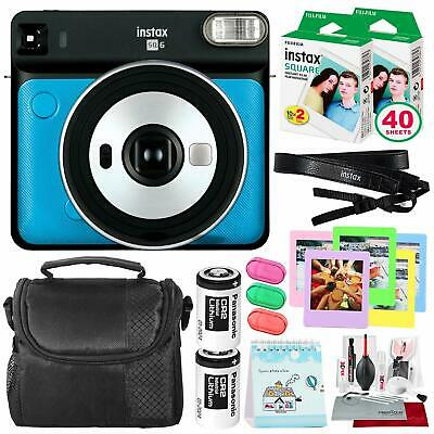 Fujifilm instax Square SQ6 Instant Film Camera (Metallic Blue) + 40 Sheet Square