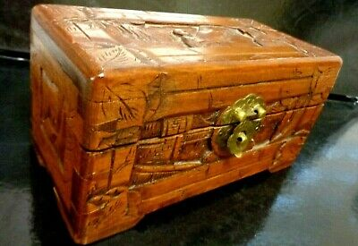 Antique Chinese Hand Carved Wooden Camphor Box. SMALL 8 X 4 INCH
