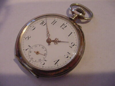 LATE 1800's 800 FINE SILVER GOLD WASHED FANCY ANTIQUE POCKET WATCH! A BEAUTY!