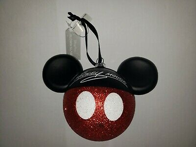 NWT Disney Parks Mickey Mouse Christmas Ornament Blown Glass Glitter Ears