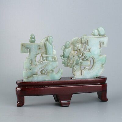 Chinese Exquisite Hand-carved Jadeite jade statue 2pcs