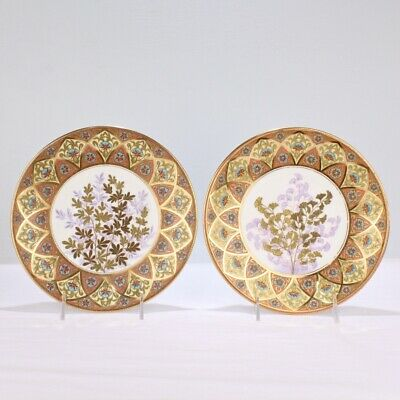 Derby Porcelain Aesthetic Period Gilt & Enameled Botanical Cabinet Plate Pair PC
