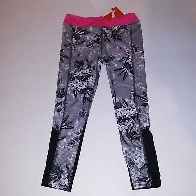 PUMA Girls Leggings Pants Active Wear Pink Black White Floral Kids Bottom