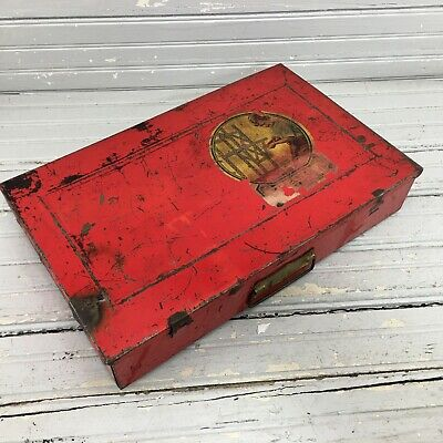 1954 Shop Box Erector Set Metal Red Patina Box