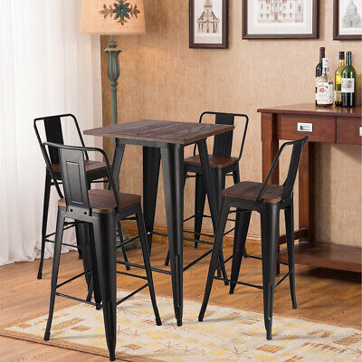 Metal Industrial Table Bar Stool with Back Wood Seat Retro Kitchen Bistro Cafe