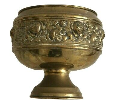 Antique Brass pot Jardiniere Roman style pedestal pressed Roses