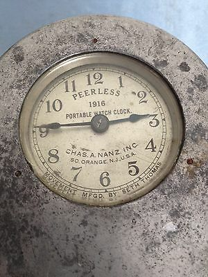 Vintage Peerless 1916 Portable Watch Clock Movement Mfgd By Seth Thomas