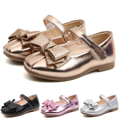 Girls Kids Glitter Sequins Bownot Dolly Shoes Toddler Party Princess Sandals UK