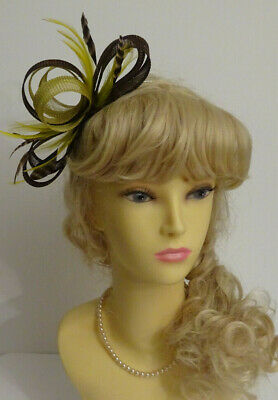 Brown/olive green fascinator on headband for wedding/mother of the bride