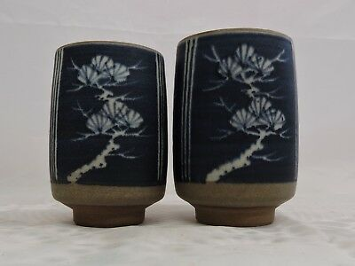 Two Vintage Hand Made Japanese Clay Pots - Ghost Grey and Blue