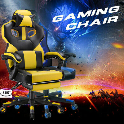 Adjustable High Back Gaming Swivel Chair Racing Heavy Duty Leather Desk Office