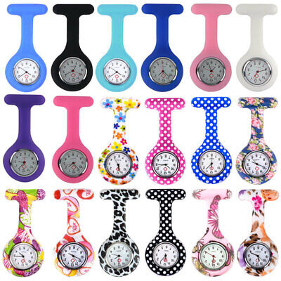 Nurse Watch Plain/Patterned Silicone Nurses Brooch Tunic Fob Watch With Battery