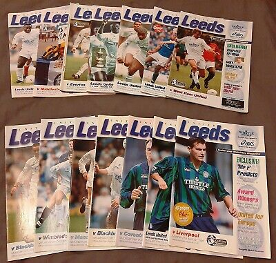 1995 - 1996 Season. Leeds United. 14 Programmes. Excellent Collection