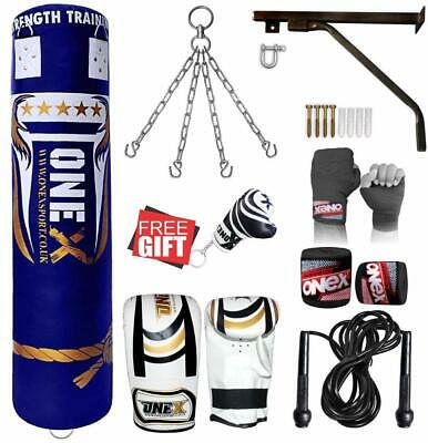 ONEX Heavy Filled 11 Piece 5ft Boxing Punch Bag Set Gloves Bracket Chain MMA Pad