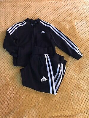 Adidas tracksuit Black Age 3-4 Years. Boys / Girls Good Condition. Cute.