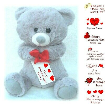 Personalised Valentine's Day Teddy Bear With Printed Tag Valentines Gifts