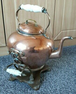 Antique Victorian Arts & Crafts Copper Spirit Kettle Teapot and Stand