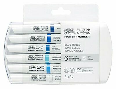 Winsor  Newton Pigment Marker - Blue Pack of 6