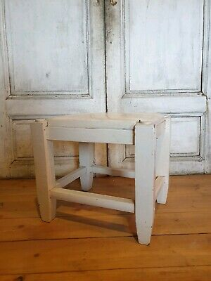 Small Antique Wooden Milking Stool Rustic Painted White Shabby Chic Vintage Step