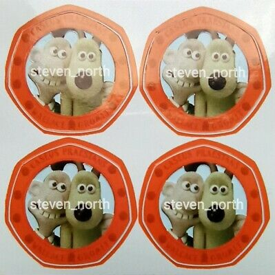 •NEW• 4 Wallace & Gromit 2019 50p Colour Decals/Stickers •FAST AND FREE POSTAGE•