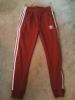 Adidas Boys Burgundy  Tracksuit Jogging Bottoms Aged 12-13 Years
