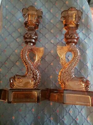 Vintage WESTMORLAND Gold Glass Dolphin Koi Fish Candlesticks Candle Holders