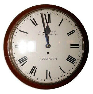 "E White London (Dent Foreman) 12"" Convex Fusee English Wall Clock"
