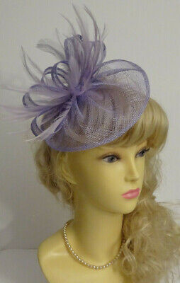 Lilac feather fascinator on clip for wedding/mother of the bride/races