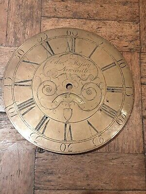 "Antique Brass Clock Dial Edward Massey Newcastle11.2 ""  famous maker"