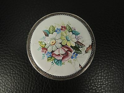 Art Deco Antique Austria Trinket Box Gilded Silver -Filigree- Flowers Enamel
