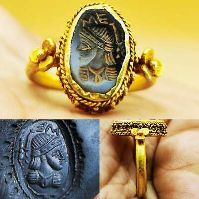 Roman Agate Ancient Stone Emperor 22K Karat Gold Ring # 107