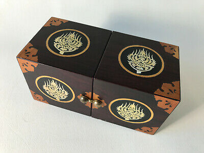 Oriental Asian Vintage Wood Cubes Jewelry Trinket Box with Inlay Vintage Antique