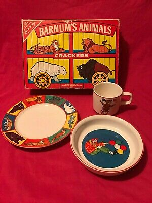Vintage Nabisco Barnum's animal Crackers 3 Piece Dish Set cup, plate, bowl