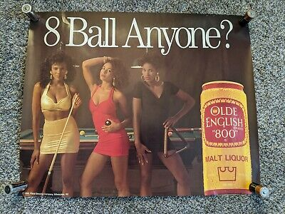Rare Vintage Olde English 800 Malt Liquor 8 Ball Anyone Beer Poster Man Cave 90